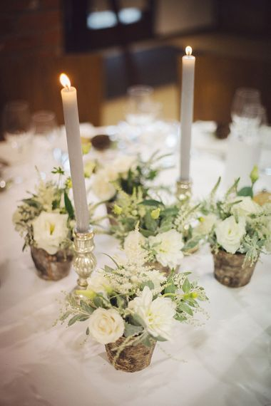 White Flowers & Grey Candles Centrepiece