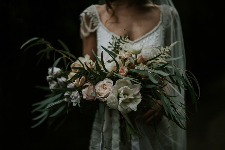 Oversized Wild Wedding Bouquet By Loulabel // Magical Winter Elopement Wedding Cornwall With Images By Enchanted Brides Photography & Film By Baxter And Ted With Styling From A Belle & A Brit