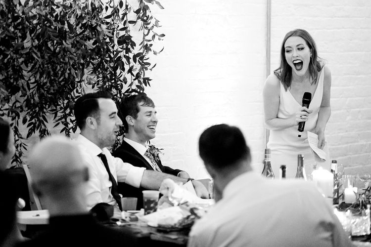 Bride Making A Speech At Wedding // Relaxed Foodie Wedding At Brixton East Dita Rosted Events Worm London Floral Design