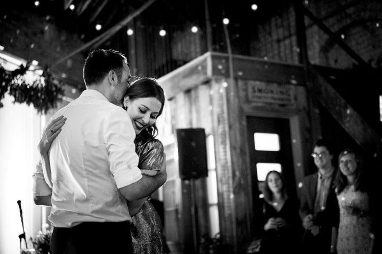 Bride In Metallic Dress For Reception // Relaxed Foodie Wedding At Brixton East Dita Rosted Events Worm London Floral Design