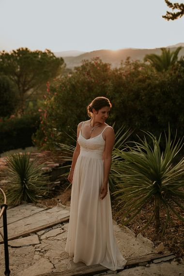 Intimate French Wedding At Home With Festoon Lights & Pool Party Images From Coralie Monnet Artistic Wedding & Family Photographer