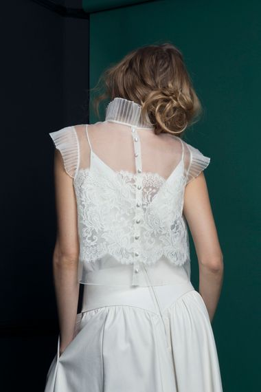 Bridal Top With Ruffled High Neck From Halfpenny London