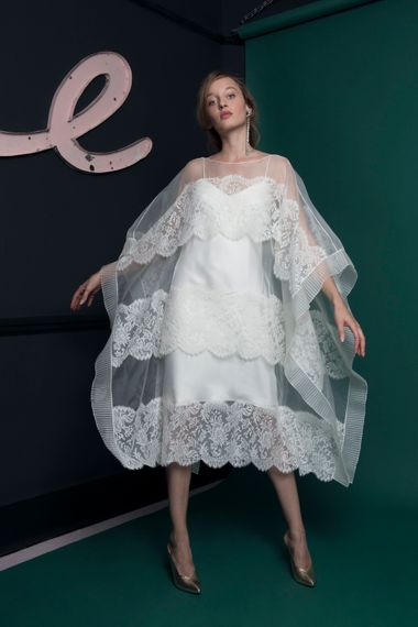 Bridal Gown With Lace & Sheer Overlay From Halfpenny London