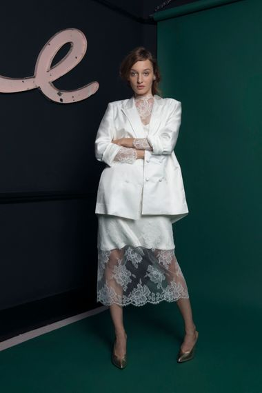 White Sik Blazer For Brides From Halfpenny London