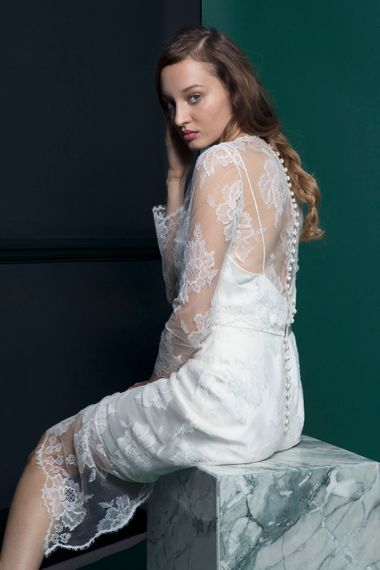 Bridal Gown With Long Lace Sleeved Jacket From Halfpenny London