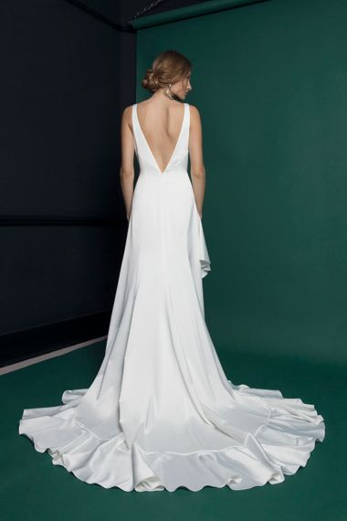 Long Bridal Gown With Ruffled Skirt From Halfpenny London