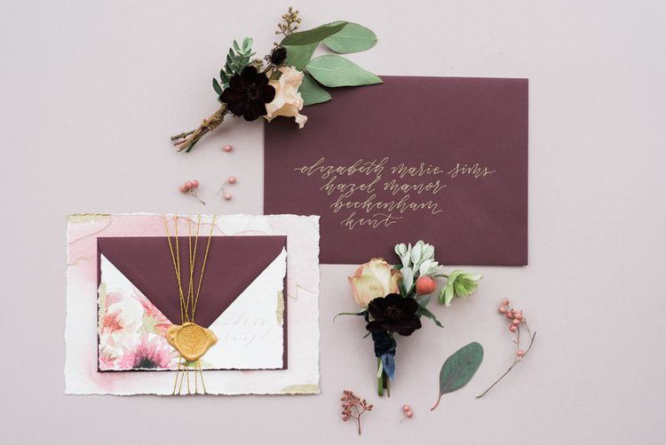 Ollie's Studio Stationery | Autumnal Decadence Wedding Inspiration at Twyning Park Styled by For The Love of Weddings | Red, Gold & Blush Colour Scheme | Captured by Katrina Photography