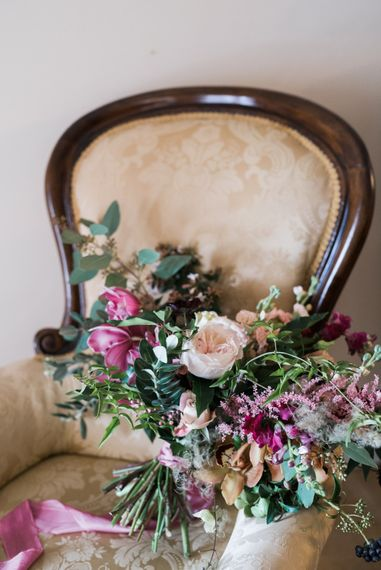 Bridal Bouquet   Autumnal Decadence Wedding Inspiration at Twyning Park Styled by For The Love of Weddings   Red, Gold & Blush Colour Scheme   Captured by Katrina Photography