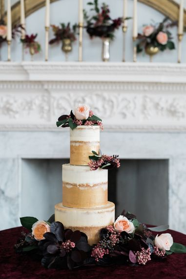 Vanilla Pod Bakery Wedding Cake | Autumnal Decadence Wedding Inspiration at Twyning Park Styled by For The Love of Weddings | Red, Gold & Blush Colour Scheme | Captured by Katrina Photography
