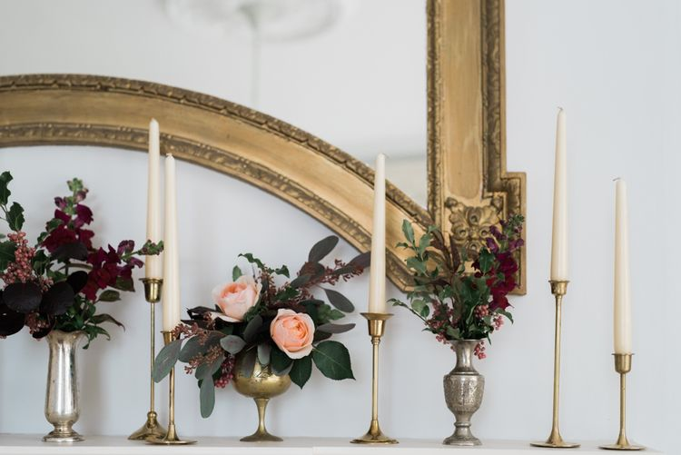 Candle Stick & Floral Wedding Decor | Autumnal Decadence Wedding Inspiration at Twyning Park Styled by For The Love of Weddings | Red, Gold & Blush Colour Scheme | Captured by Katrina Photography