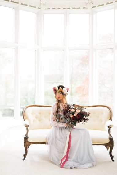 Bride in Flower Crown & Blue Tulle Skirt | Autumnal Decadence Wedding Inspiration at Twyning Park Styled by For The Love of Weddings | Red, Gold & Blush Colour Scheme | Captured by Katrina Photography