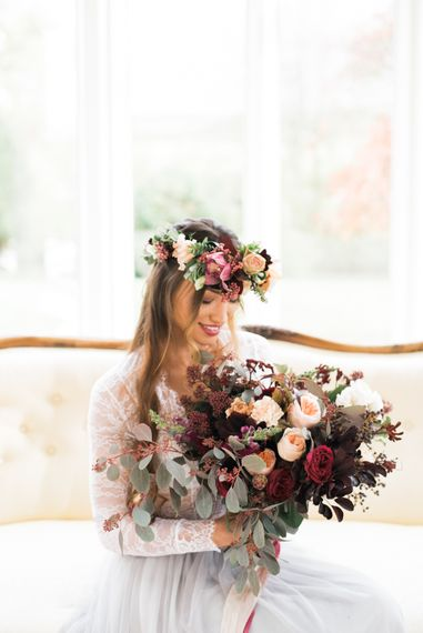 Bridal Beauty with Bouquet & Flower Crown | Autumnal Decadence Wedding Inspiration at Twyning Park Styled by For The Love of Weddings | Red, Gold & Blush Colour Scheme | Captured by Katrina Photography