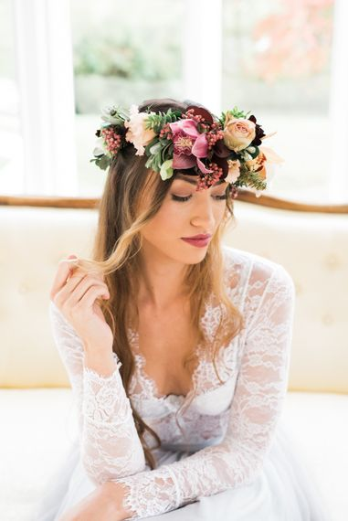 Flower Crown | Autumnal Decadence Wedding Inspiration at Twyning Park Styled by For The Love of Weddings | Red, Gold & Blush Colour Scheme | Captured by Katrina Photography