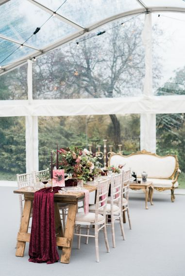 Elegant Tablescape   Autumnal Decadence Wedding Inspiration at Twyning Park Styled by For The Love of Weddings   Red, Gold & Blush Colour Scheme   Captured by Katrina Photography