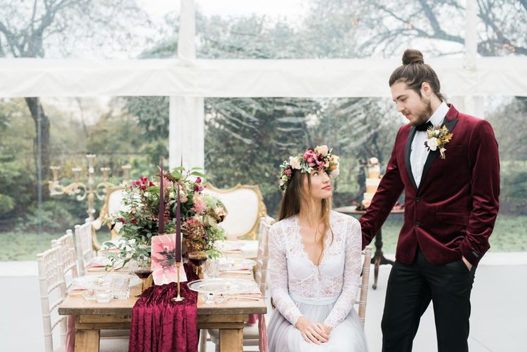 Bride & Groom | Tablescape Decor | Autumnal Decadence Wedding Inspiration at Twyning Park Styled by For The Love of Weddings | Red, Gold & Blush Colour Scheme | Captured by Katrina Photography