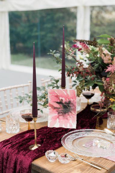 Taper Candles Wedding Stationery & Floral Centrepieces   Autumnal Decadence Wedding Inspiration at Twyning Park Styled by For The Love of Weddings   Red, Gold & Blush Colour Scheme   Captured by Katrina Photography