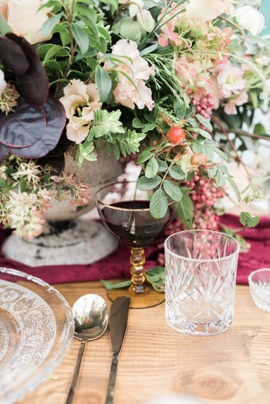 Cut Glass & Platter Table Decor | Autumnal Decadence Wedding Inspiration at Twyning Park Styled by For The Love of Weddings | Red, Gold & Blush Colour Scheme | Captured by Katrina Photography