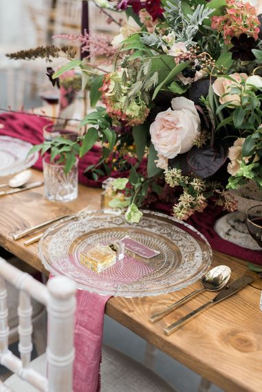 Glass Platter & Scented Wedding Favour | Autumnal Decadence Wedding Inspiration at Twyning Park Styled by For The Love of Weddings | Red, Gold & Blush Colour Scheme | Captured by Katrina Photography
