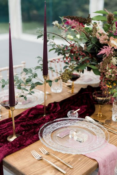 Wedding Table Decor | Autumnal Decadence Wedding Inspiration at Twyning Park Styled by For The Love of Weddings | Red, Gold & Blush Colour Scheme | Captured by Katrina Photography