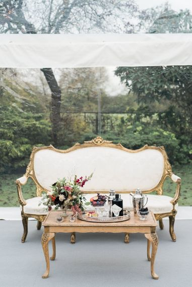 Elegant Sofa & Cocktail Area | Autumnal Decadence Wedding Inspiration at Twyning Park Styled by For The Love of Weddings | Red, Gold & Blush Colour Scheme | Captured by Katrina Photography