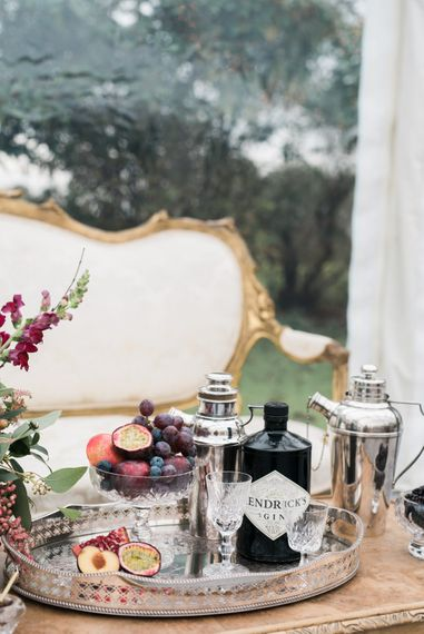 Cocktail Tray   Autumnal Decadence Wedding Inspiration at Twyning Park Styled by For The Love of Weddings   Red, Gold & Blush Colour Scheme   Captured by Katrina Photography