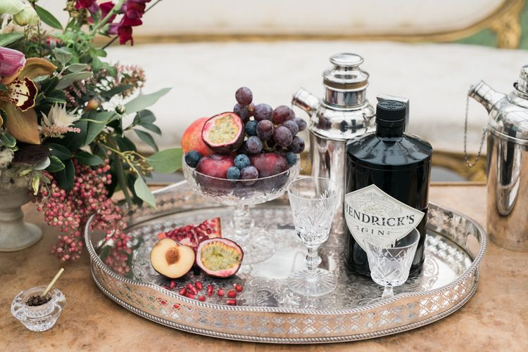 Cocktail Tray with Hendricks Gin | Autumnal Decadence Wedding Inspiration at Twyning Park Styled by For The Love of Weddings | Red, Gold & Blush Colour Scheme | Captured by Katrina Photography