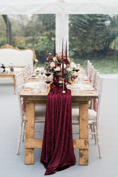 Elegant Tablescape | Autumnal Decadence Wedding Inspiration at Twyning Park Styled by For The Love of Weddings | Red, Gold & Blush Colour Scheme | Captured by Katrina Photography