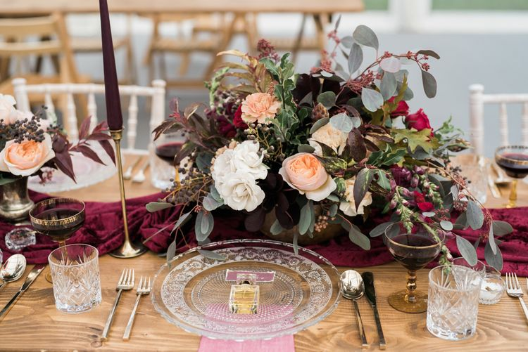 Elegant Glass Place Setting   Autumnal Decadence Wedding Inspiration at Twyning Park Styled by For The Love of Weddings   Red, Gold & Blush Colour Scheme   Captured by Katrina Photography