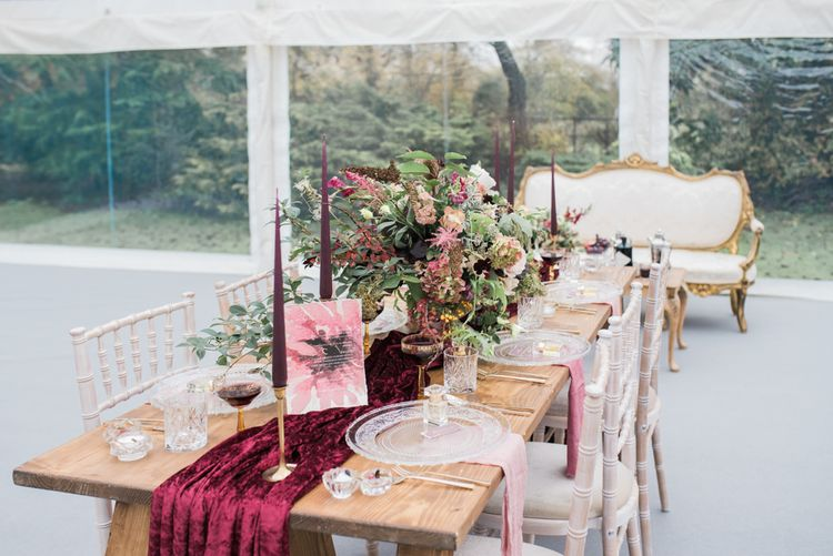 Tabel Scape with Taper Candles & Velvet Runner | Autumnal Decadence Wedding Inspiration at Twyning Park Styled by For The Love of Weddings | Red, Gold & Blush Colour Scheme | Captured by Katrina Photography