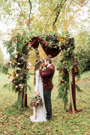 Woodland Floral Arch | Stylish Bride & Groom | Autumnal Decadence Wedding Inspiration at Twyning Park Styled by For The Love of Weddings | Red, Gold & Blush Colour Scheme | Captured by Katrina Photography