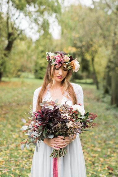 Stylish Bride in Flower Crown | Autumnal Decadence Wedding Inspiration at Twyning Park Styled by For The Love of Weddings | Red, Gold & Blush Colour Scheme | Captured by Katrina Photography