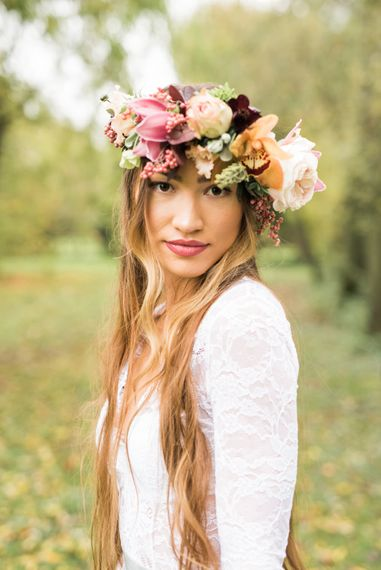 Beautiful Bride in Flower Crown | Autumnal Decadence Wedding Inspiration at Twyning Park Styled by For The Love of Weddings | Red, Gold & Blush Colour Scheme | Captured by Katrina Photography