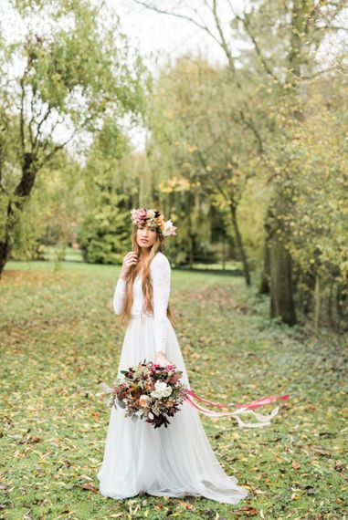Stylish Bride in in Blue Tulle Skirt | Autumnal Decadence Wedding Inspiration at Twyning Park Styled by For The Love of Weddings | Red, Gold & Blush Colour Scheme | Captured by Katrina Photography