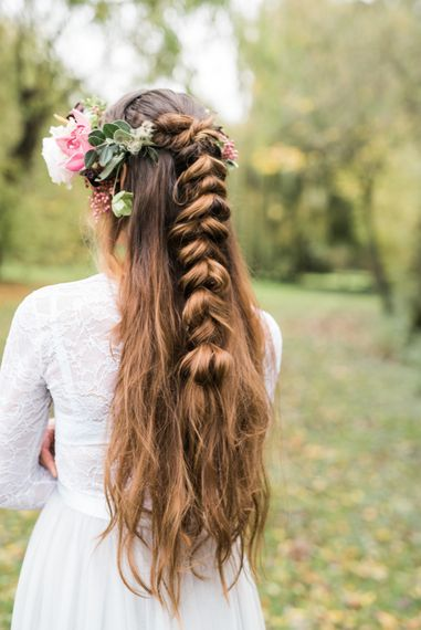 Bridal Hair Style Half Up Half Down | Autumnal Decadence Wedding Inspiration at Twyning Park Styled by For The Love of Weddings | Red, Gold & Blush Colour Scheme | Captured by Katrina Photography