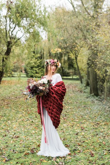 Bride in Giant Wrap | Autumnal Decadence Wedding Inspiration at Twyning Park Styled by For The Love of Weddings | Red, Gold & Blush Colour Scheme | Captured by Katrina Photography