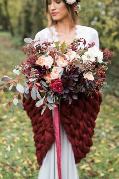 Bride in Giant Wrap & Bouquet | Autumnal Decadence Wedding Inspiration at Twyning Park Styled by For The Love of Weddings | Red, Gold & Blush Colour Scheme | Captured by Katrina Photography