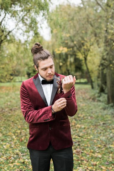 Groom in Red Velvet Lounge Jacket | Autumnal Decadence Wedding Inspiration at Twyning Park Styled by For The Love of Weddings | Red, Gold & Blush Colour Scheme | Captured by Katrina Photography