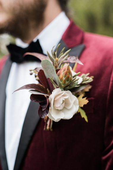 Buttonhole | Autumnal Decadence Wedding Inspiration at Twyning Park Styled by For The Love of Weddings | Red, Gold & Blush Colour Scheme | Captured by Katrina Photography