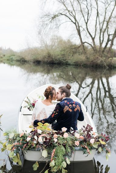 Bride & Groom Boat Portrait | Autumnal Decadence Wedding Inspiration at Twyning Park Styled by For The Love of Weddings | Red, Gold & Blush Colour Scheme | Captured by Katrina Photography