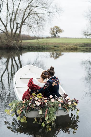 Bride & Groom Boat Transport | Autumnal Decadence Wedding Inspiration at Twyning Park Styled by For The Love of Weddings | Red, Gold & Blush Colour Scheme | Captured by Katrina Photography