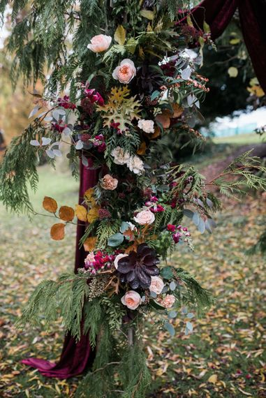 Floral Arch Flowers | Autumnal Decadence Wedding Inspiration at Twyning Park Styled by For The Love of Weddings | Red, Gold & Blush Colour Scheme | Captured by Katrina Photography
