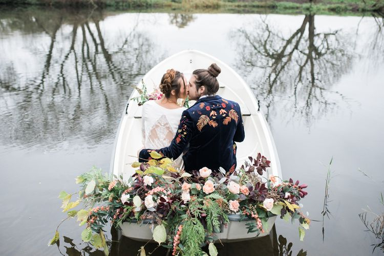 Brid e& Groom on a Boat | Autumnal Decadence Wedding Inspiration at Twyning Park Styled by For The Love of Weddings | Red, Gold & Blush Colour Scheme | Captured by Katrina Photography