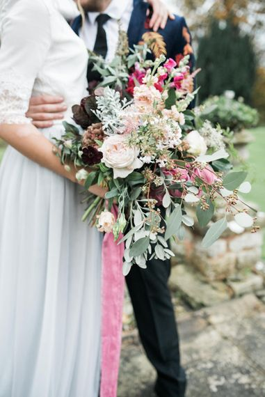 Wedding Bouquet with Pink Ribbon | Autumnal Decadence Wedding Inspiration at Twyning Park Styled by For The Love of Weddings | Red, Gold & Blush Colour Scheme | Captured by Katrina Photography