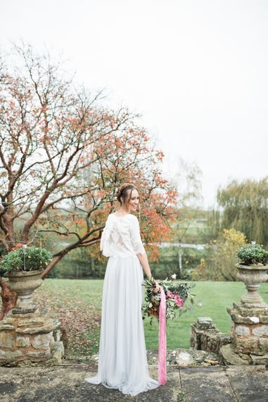 Bride in Lace Back Top | Autumnal Decadence Wedding Inspiration at Twyning Park Styled by For The Love of Weddings | Red, Gold & Blush Colour Scheme | Captured by Katrina Photography