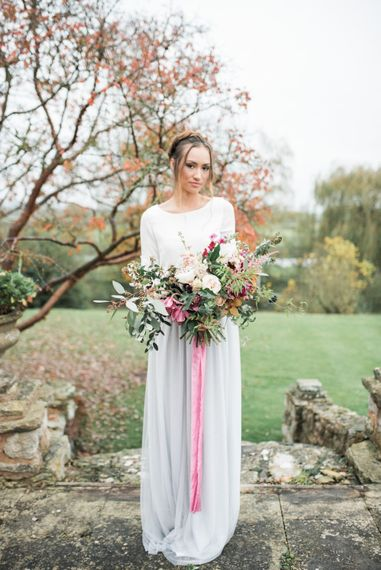 Bride in Blue Tulle Skirt & Lace Top   Autumnal Decadence Wedding Inspiration at Twyning Park Styled by For The Love of Weddings   Red, Gold & Blush Colour Scheme   Captured by Katrina Photography