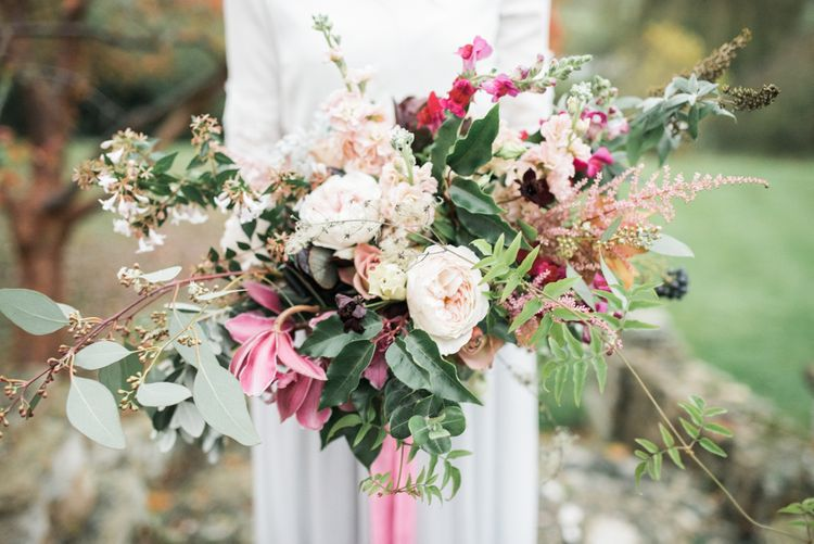 Oversized Wedding Bouquet   Autumnal Decadence Wedding Inspiration at Twyning Park Styled by For The Love of Weddings   Red, Gold & Blush Colour Scheme   Captured by Katrina Photography