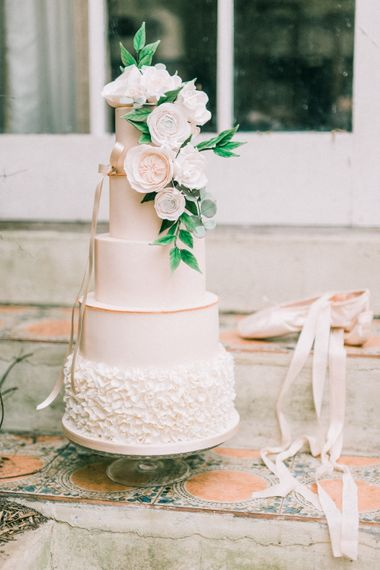 Wedding Cake With Sugar Craft Flowers