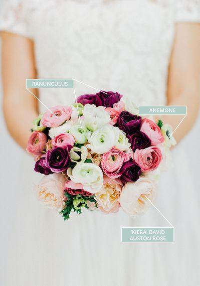 A Winter Wedding Bouquet With Anemones, Ranunculus & Kiera David Austen Roses