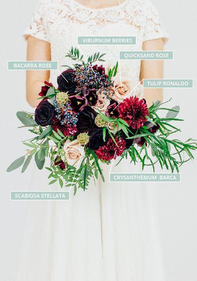 A Winter Wedding Bouquet With Viburnum Berries, Quicksand Roses, Tulips & Chrysanthemum