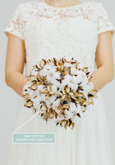 A Winter Wedding Bouquet With Raw Cotton Seed Pods
